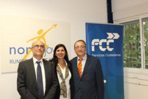Marino Poyatos, Kenia Navarro y Luis Suarez en Norte Joven tras la primera jornada FCC Medioambiente